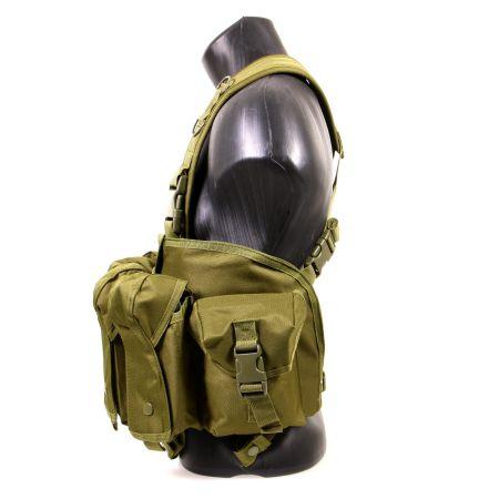 Veste Gilet Tactique Chest Rig 7 Poches Delta Tactics - Olive