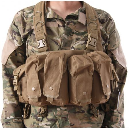 Veste Gilet Tactique Chest Rig 7 Poches Delta Tactics - Tan