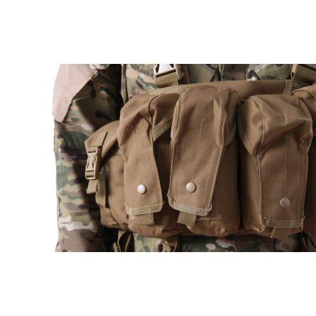 Veste Gilet Tactique Chest Rig 7 Poches Delta Tactics - Tan