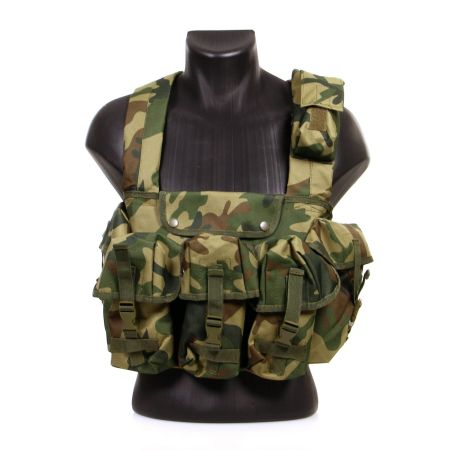 Veste Gilet Tactique Chest Rig 7 Poches Miltec (Mil-Tec) Woodland - 13530020