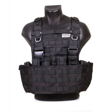 Veste Gilet Tactique Chest Rig Back Panel Swiss Arms - Noir - 604034
