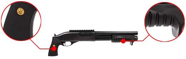 fusil a pompe m870 breacher gaz full metal noir tokyo marui 620101 prise en main airsoft 1