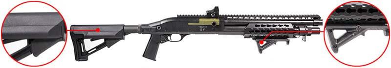 Fusil a Pompe Secutor-Velites V GOLD S Series Spring Noir SAV0017 crosse str et poignee afg airsoft 1