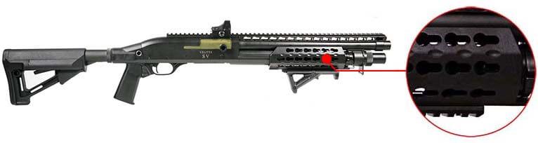 Fusil a Pompe Secutor Velites V GOLD S Series Spring Noir SAV0017 Garde main keymod airsoft 1