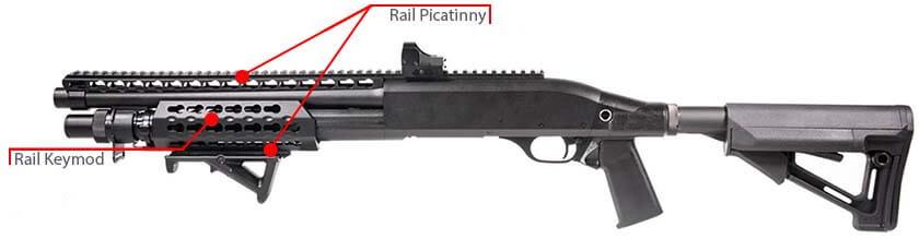 Fusil a Pompe Secutor Velites V GOLD S Series Spring Noir SAV0017 rail picatinny rail kaymod airsoft 1