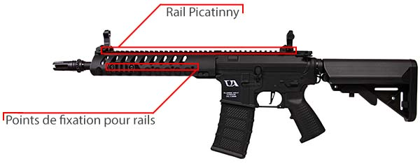 fusil ca4 delta 10 classic army noir rail keymod
