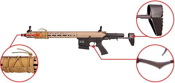 fusil dmr legion rapax xxi m2 aeg secutor tan et noir sax0002 prise en main airsoft 1 optimized