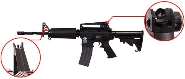 fusil gg m4a1 carbine cm16 aeg electrique guay guay noir organes de visee airsoft 1 optimized