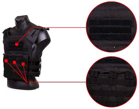 gilet tactique jpc plate carrier miltec noir 13463202 poches airsoft 1 optimized