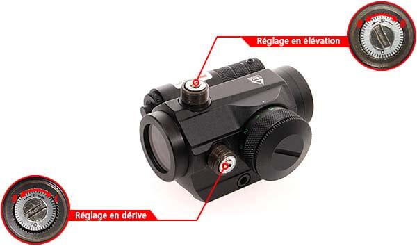 lunette 1x25 point rouge vert red green dot-laser delta tactics reglage derive elevation airsoft 1 optimized
