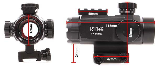lunette red dot tube 1x35 point rouge rail picatinny rti optics dimensions airsoft 1