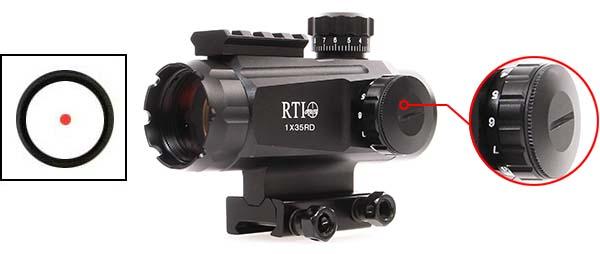 lunette red dot tube 1x35 point rouge rail picatinny rti optics luminosite airsoft 1