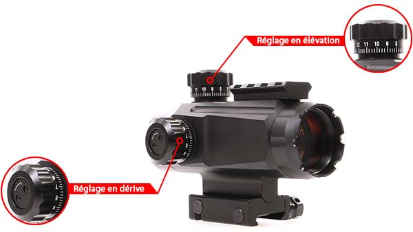 lunette red dot tube 1x35 point rouge rail picatinny rti optics reglage derive elevation airsoft 1