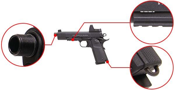 pistolet secutor 1911 rudis xii magna co2 noir sar0027 accessoirisation airsoft 1