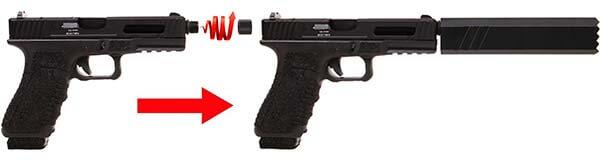 pistolet secutor gladius 17 acta non verba co2 gbb blowback noir montage silencieux 1 optimized