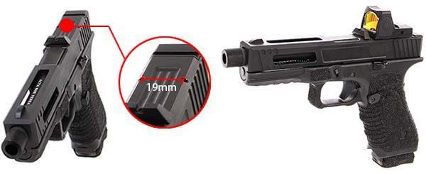pistolet secutor gladius 17 acta non verba co2 gbb blowback noir red dot 1 optimized