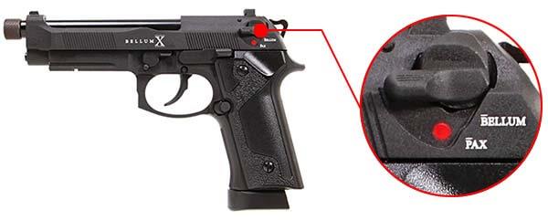 pistolet secutor m92 bellum x co2 gbb noir sab0001 levier de securite 1 optimized