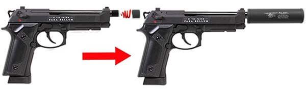 pistolet secutor m92 bellum x co2 gbb noir sab0001 montage silencieux 1 optimized
