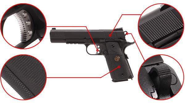 pistolet we colt 1911 meu gbb gaz blowback full metal noir 500541 confort airsoft 1 optimized