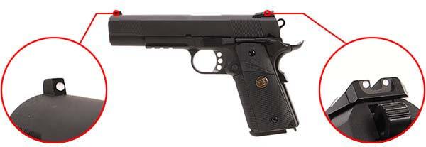 pistolet we colt 1911 meu gbb gaz blowback full metal noir 500541 organes de visee airsoft 1 optimized