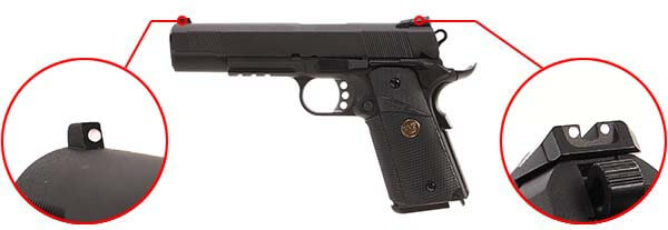 pistolet we colt 1911 meu gbb gaz blowback full metal tan 500544 organes de visee airsoft 1 optimized