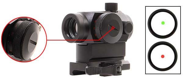 point rouge red dot qd micro t1 montage haut duel code noir luminosite airsoft 1 optimized