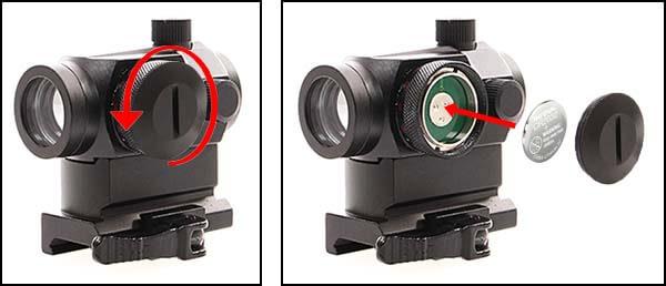 point rouge red dot qd micro t1 montage haut duel code noir pile airsoft 1 optimized