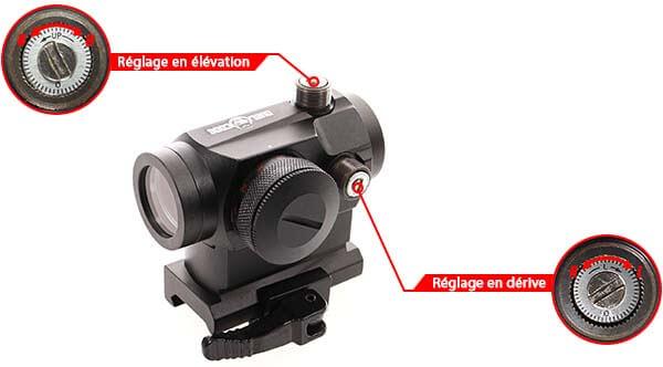 point rouge red dot qd micro t1 montage haut duel code noir reglage derive elevation airsoft 1 optimized