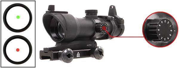 red dot point rouge type acog delta tactics noir ac11449 ajustable luminosite airsoft 1