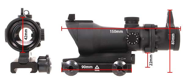 red dot point rouge type acog delta tactics noir ac11449 dimensions airsoft 1