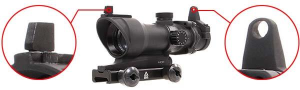 red dot point rouge type acog delta tactics noir ac11449 organes de visee airsoft 1