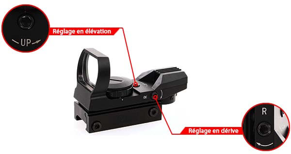 red dot sight visee point rouge verte multi reticules 30mm rail picatinny 263916 reglages airsoft 1 optimized