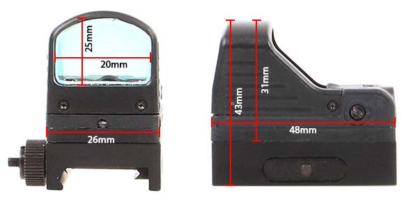 red dot type rmr docter sight point rouge mrds picatinny noir dimensions airsoft 1