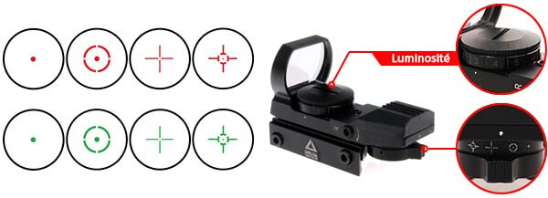 red green dot sight reflex visee point rouge verte multi reticules tan luminosite reticule airsoft 1 optimized