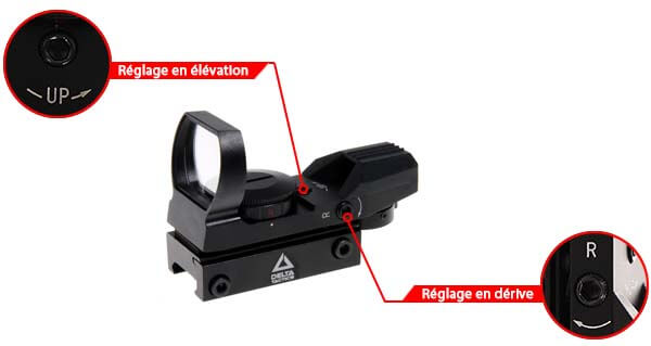 red green dot sight reflex visee point rouge verte multi reticules tan reglage derive elevation airsoft 1 optimized